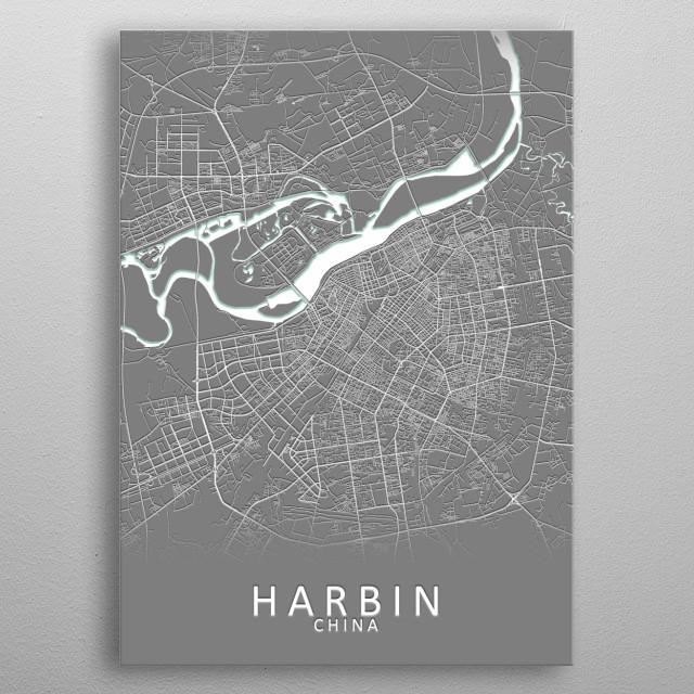 Harbin China City Map metal poster