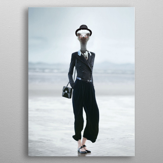 The head of the ostrich on the human body, the madman metal poster