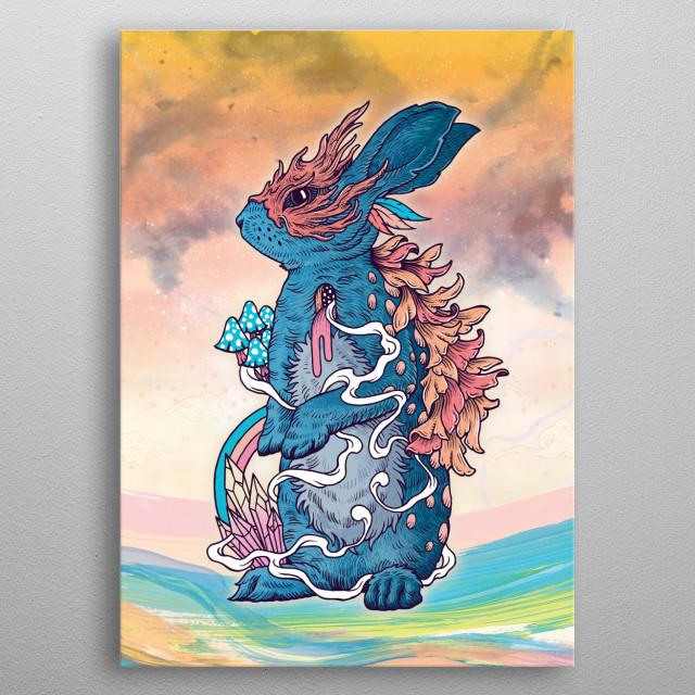 Magical rabbit bringing good fortune. metal poster