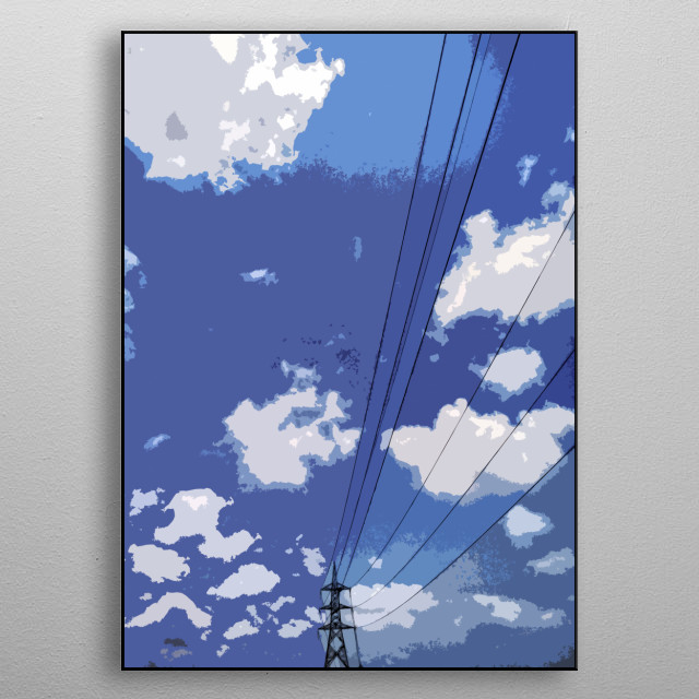 Pylon Scene with cloud  metal poster