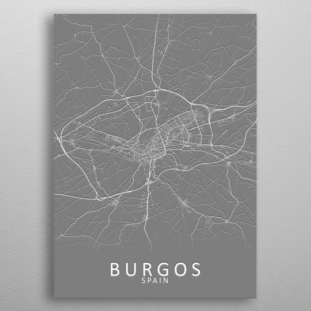 Burgos Spain City Map metal poster