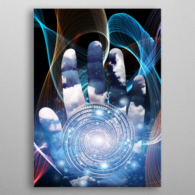 Hand with swirling spirals. Tunnel of time metal poster