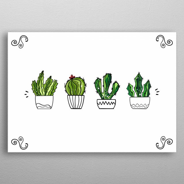 Set of cute cacti in pots on white background. Home decor. Minimalism  metal poster