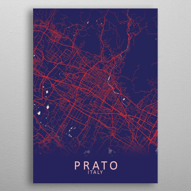 Prato Italy City Map metal poster
