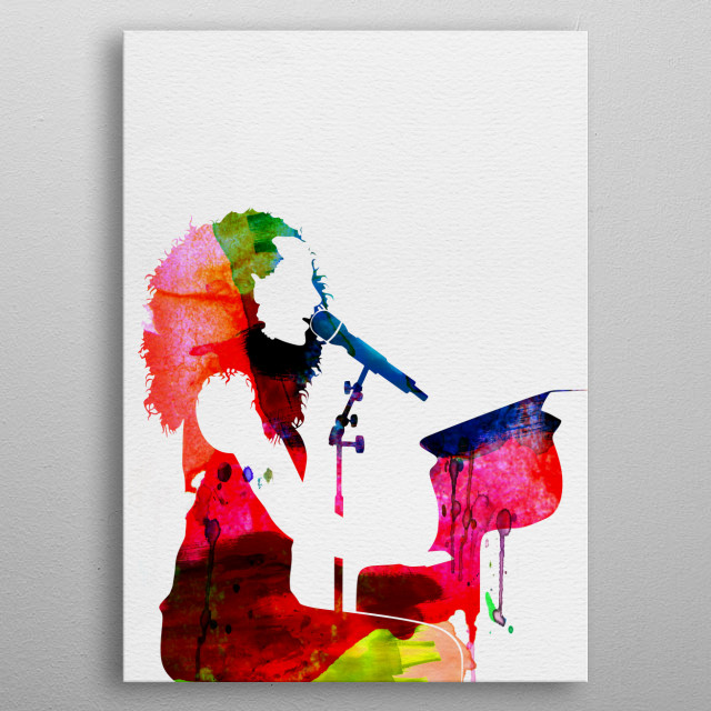 Watercolor painting of legendary music icon Alicia Keys. Explore our Music Legend collection of displates. metal poster