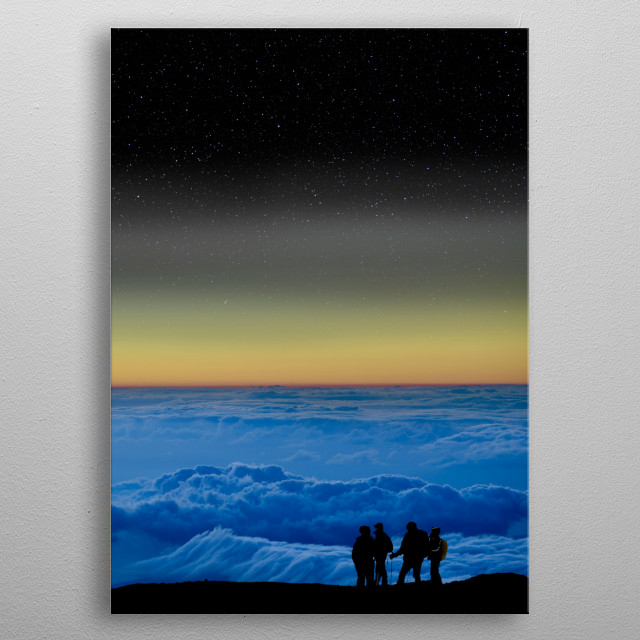 A group of climbers near the summit of Mauna Kea in Hawaii at sunset. metal poster