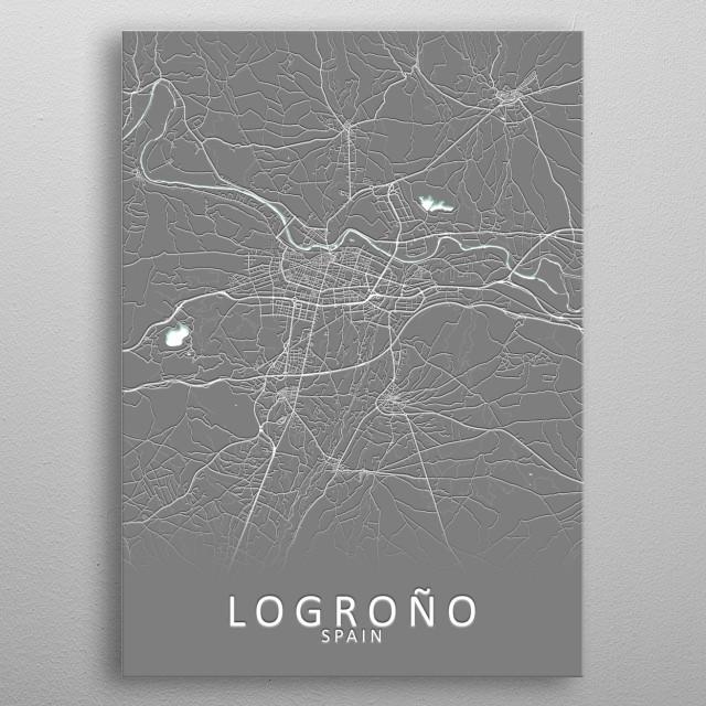 Logrono Spain City Map metal poster