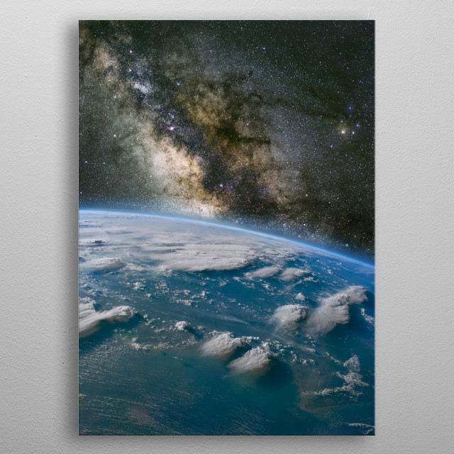 The Milky Way over Borneo with large thunder storms. metal poster