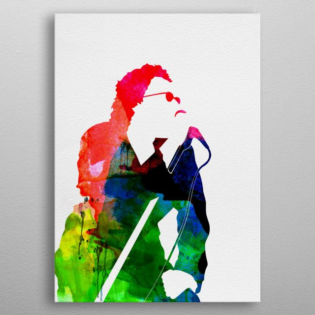 Watercolor painting of legendary music icon INXS. Explore our Music Legend collection of displates. metal poster