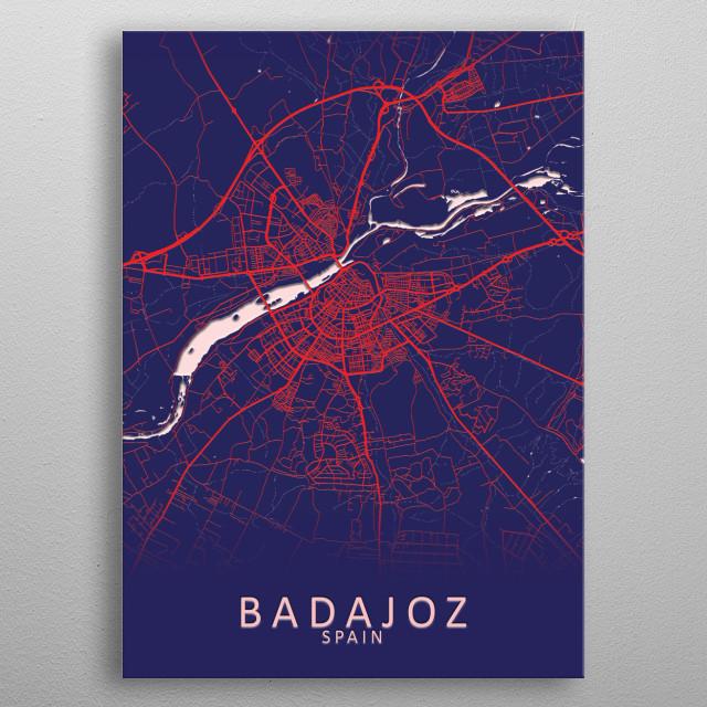 Badajoz Spain City Map metal poster