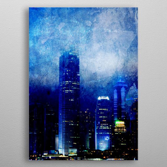 Skyscrapers at night. metal poster