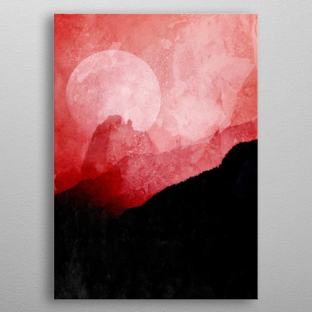 Red sky and moon over the mountains. metal poster