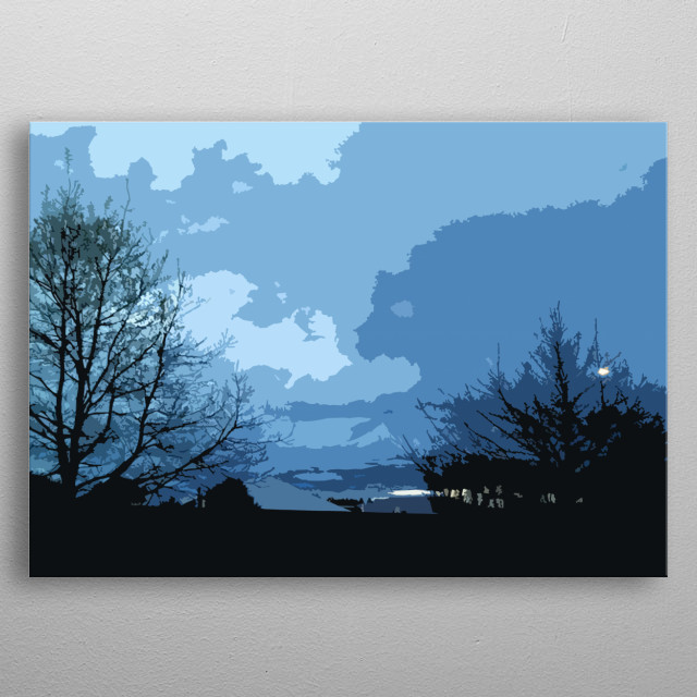 The sets low in the West and paints the sky in moody cloud-covered tones metal poster