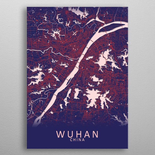 Wuhan China City Map metal poster