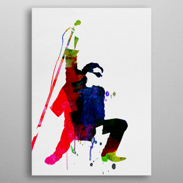 Watercolor painting of legendary music icon Bono. metal poster