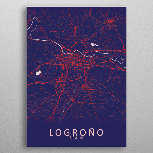 Logrono Spain City Map metal poster