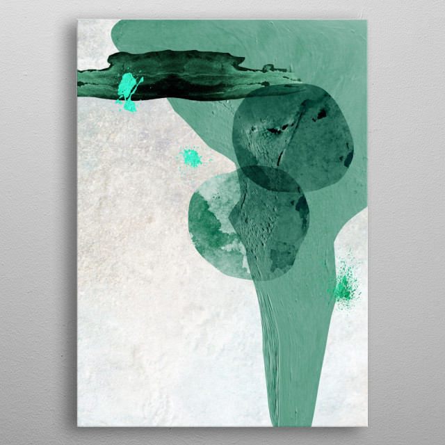 Minimalist abstract art in teal metal poster