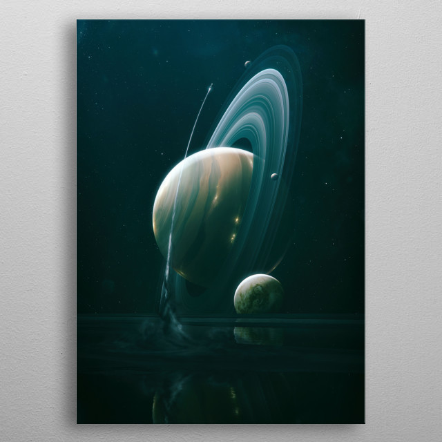A shuttle starts after a reconnaissance trip from a moon of the gas giant Mercurius to further explore the planet and its satellites.  metal poster