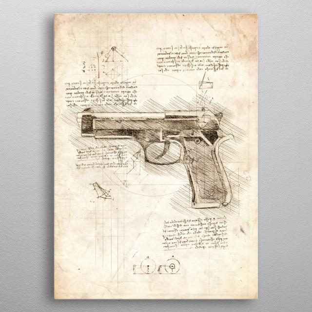 Sketch of a Hand Gun metal poster