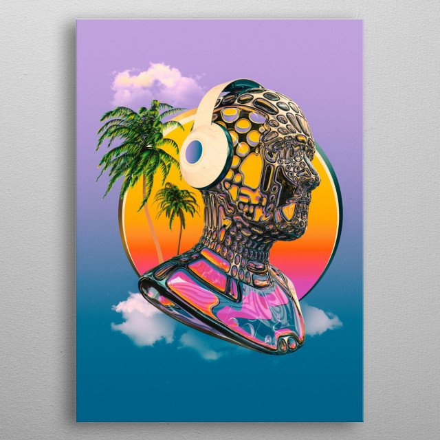 Futuristic humanoid head bust made out of glass and metal framing with a Miami Florida Beach Vibe listening to music with the rising sun.   metal poster