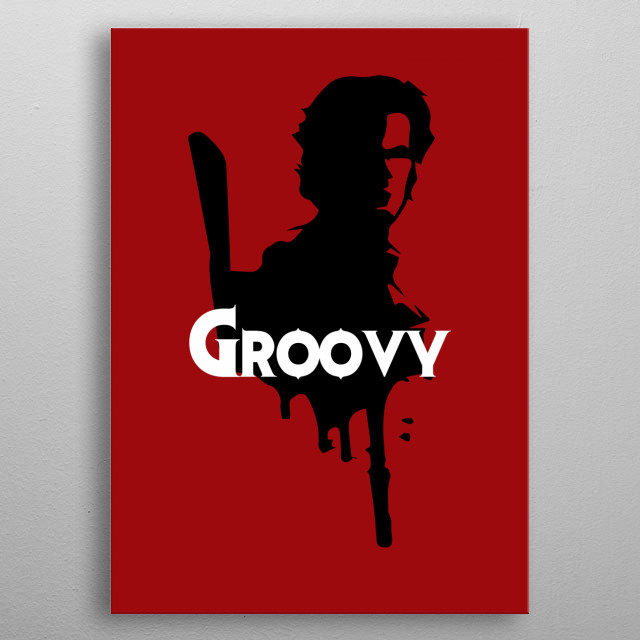 Ash Williams from Evil Dead metal poster