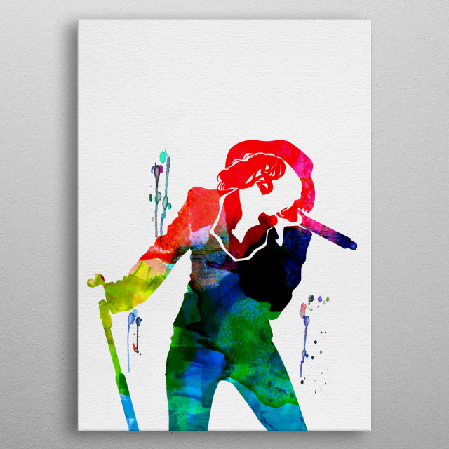Watercolor painting of legendary music icon Christina Aguilera. Explore our Music Legend collection of displates. metal poster