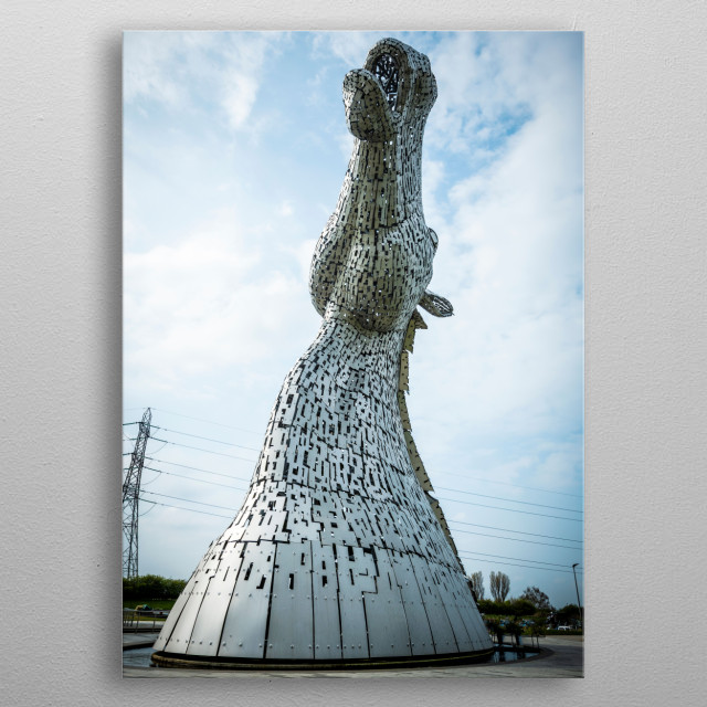 The Kelpies is the world's largest pair of equine sculptures, the 30-metre-tall Kelpies tower over a historic Forth & Clyde Canal. metal poster