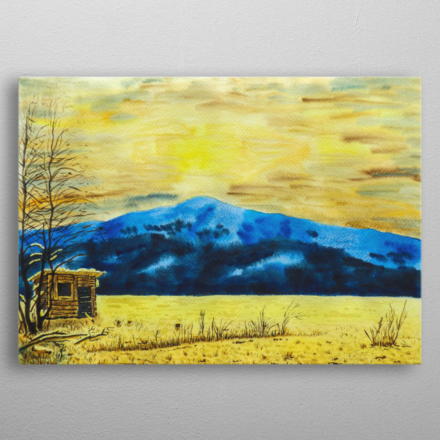I've climbed a lot of mountains. Every time it's a new great experience and new sensations. I save it in my paintings. Watercolor on paper. metal poster