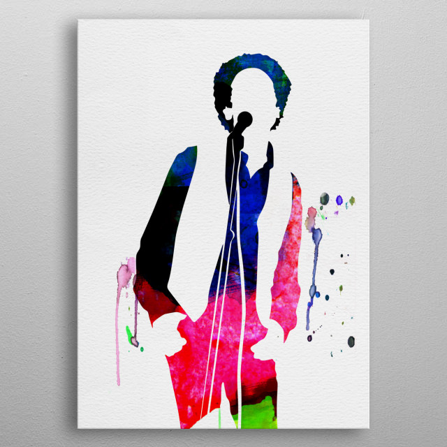 Watercolor painting of legendary music icon Art Garfunkel. Explore our Music Legend collection of displates. metal poster