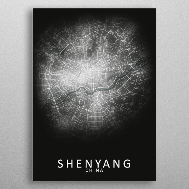Shenyang China City Map metal poster