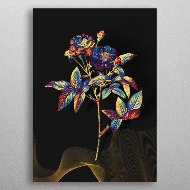 Gilded Multicolor Vintage Botanical Illustration on Various Jewel Tone Backgrounds  metal poster