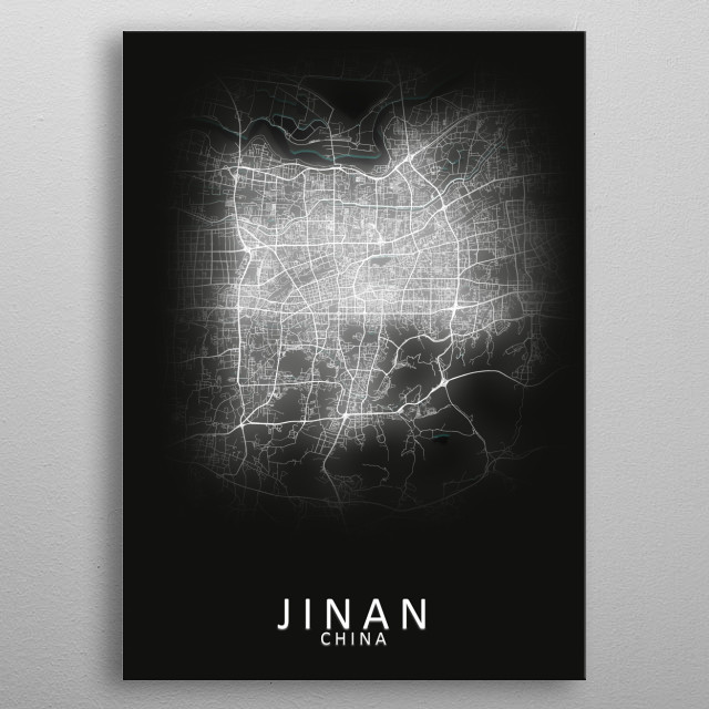 Jinan China City Map metal poster