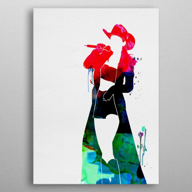 Watercolor painting of legendary music icon Shania Twain. Explore our Music Legend collection of displates. metal poster