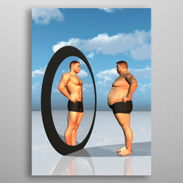 Man sees other self in mirror. Muscular build and fatman metal poster
