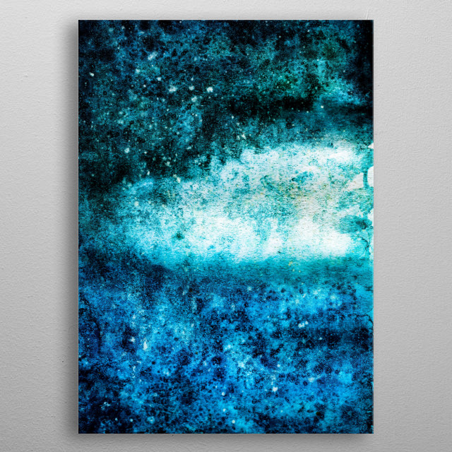Watercolor Textured Blue Background metal poster