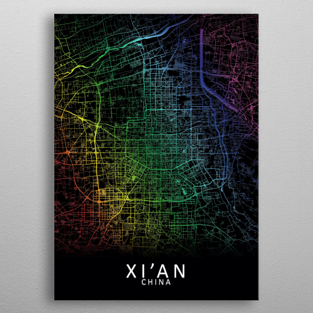 Xi an China City Map metal poster