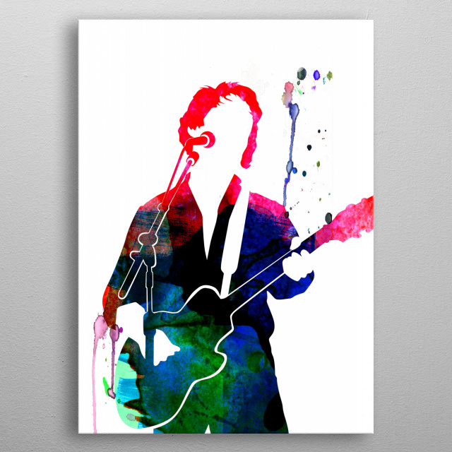 Watercolor painting of legendary music icon Paul Simon. Explore our Music Legend collection of displates. metal poster