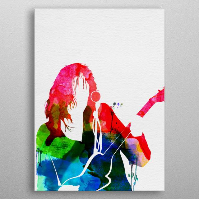 Watercolor painting of legendary music icon Neil Young. Explore our Music Legend collection of displates. metal poster