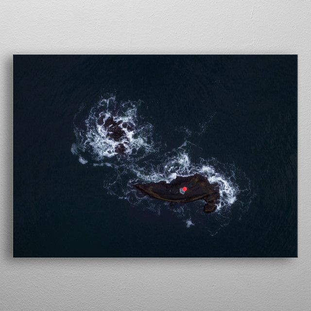 Lighthouse island, Atlantic Ocean metal poster