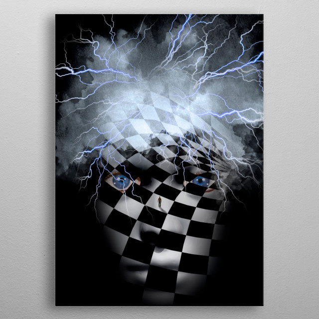 Checkered face with lightnings and cloud metal poster