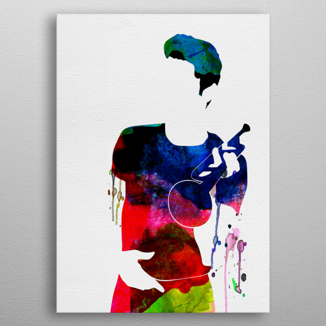 Watercolor painting of legendary music icon Chet Baker. Explore our Music Legend collection of displates. metal poster