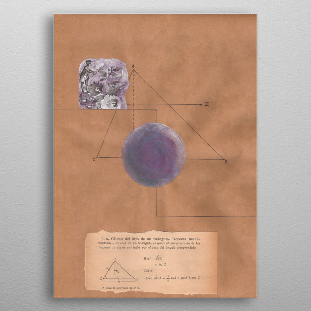 A mathematical collage combine with astrology.  Planet of the twins. metal poster