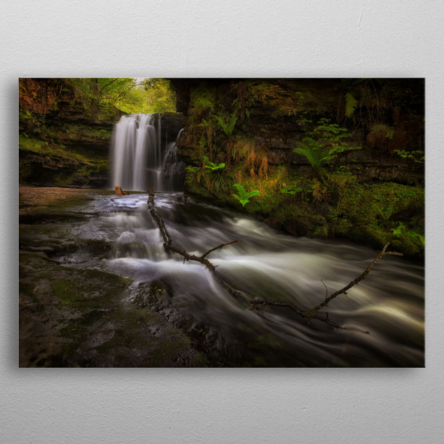 The waterfall at Sgwd Ddwli Isaf on the river Neath, near Pontneddfechan in South Wales, UK.  metal poster