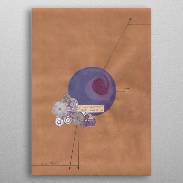 A mathematical collage combine with astrology. Planet of the ram. metal poster