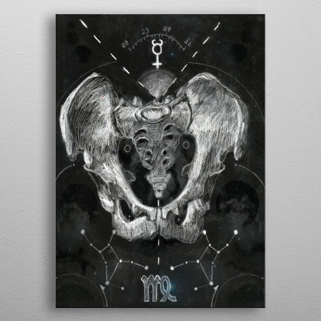 Virgo, represented by a hip bone, part of the Dark Horoscopes series metal poster