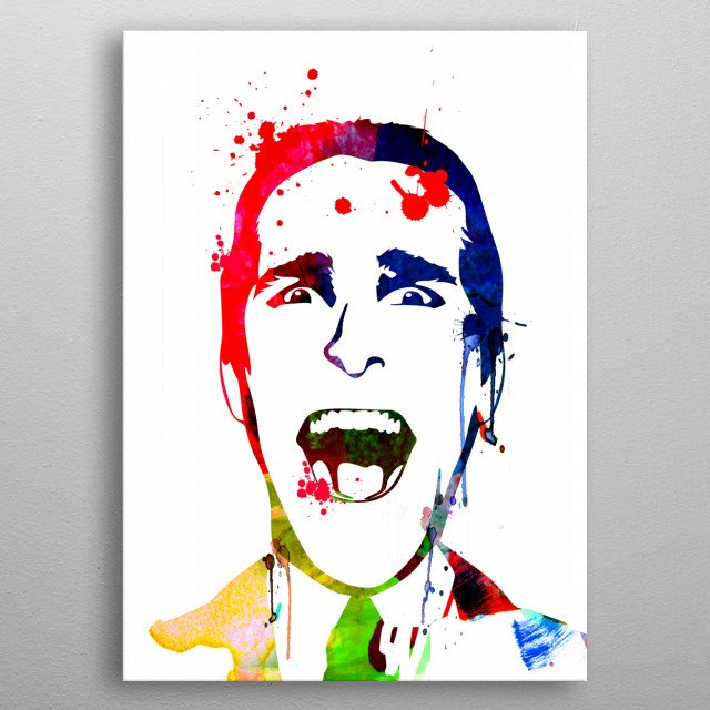 Watercolor painting celebrating our favorite actor Christian Bale. Please explore our fan art collection of movies and characters we love. metal poster