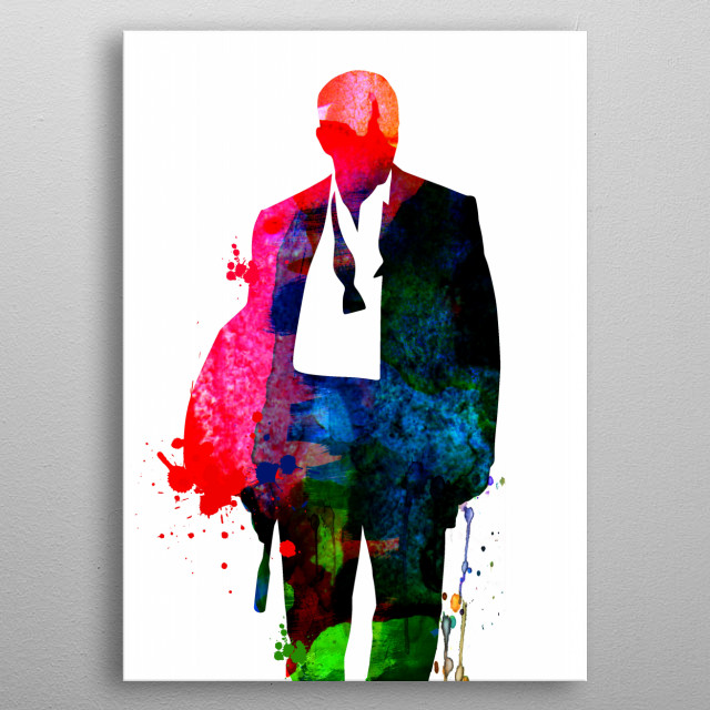 Watercolor painting celebrating one of our favorite movie character James Bond.  metal poster