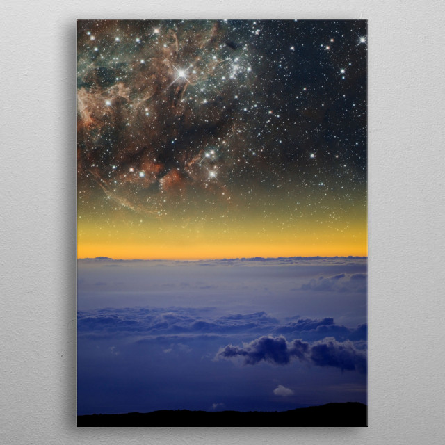 A nebula above the clouds from high altitude. metal poster