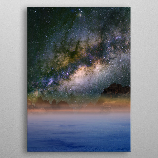 The Milky Way over cloud and the Dolomites in Madonna di Campiglio, Italy. metal poster