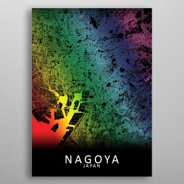Nagoya Japan City Map metal poster